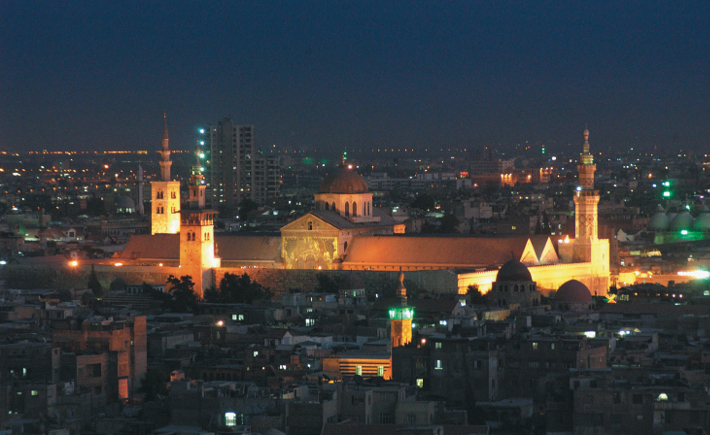 Night-time view of the Umayyad Mosque in Damascus.