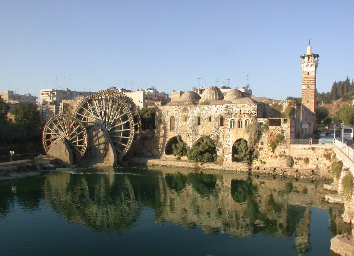 The Nuri Mosque in Hama and water wheels.