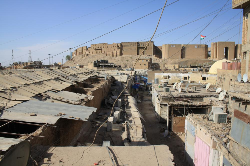 View over the roofs of the Erbil Bazaar with the citadel in the background, 2012.