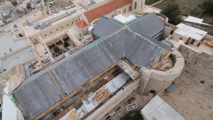 Restoration of the badly damaged roof of the Church of the Nativity.
