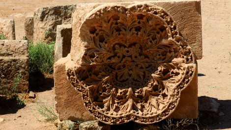 Carved rosettes on the palace facade.