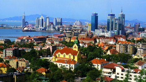 The Chinese port city of Qingdao.